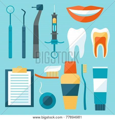 Medical dental equipment icons set in flat style.