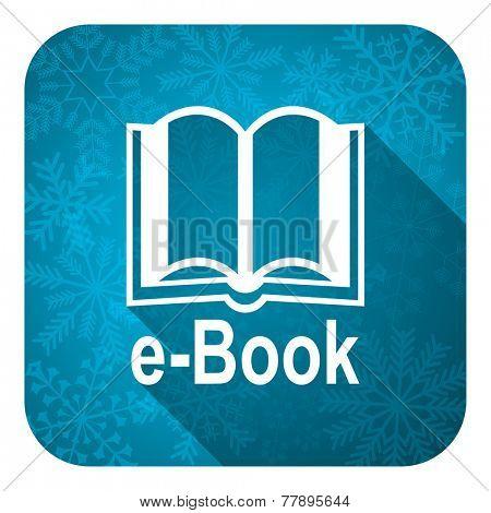 book flat icon, christmas button, e-book sign
