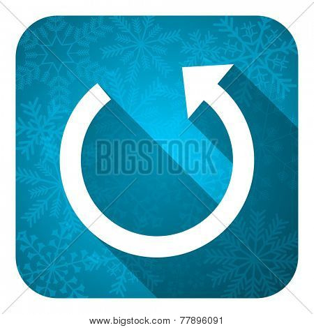 rotate flat icon, christmas button, reload sign
