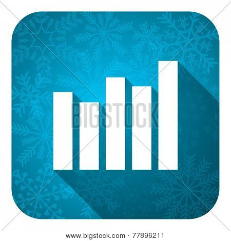 graph flat icon, christmas button, bar graph sign