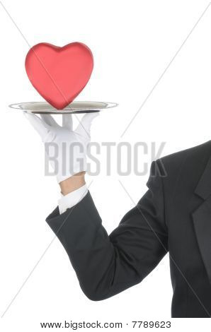 Butler With Heart On Tray