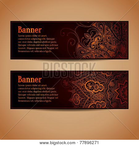 Banners set with gold floral pattern