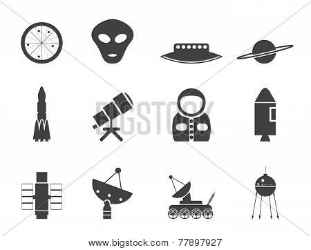 Silhouette Astronautics and Space Icons