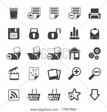 Silhouette 25 Simple Realistic Detailed Internet Icons