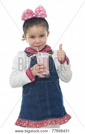 Thump Up Young Girl Drinking Milk Shake
