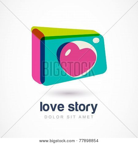 Abstract Colorful Photo Camera With Heart Lense. Vector Logo Icon Template. Design Concept For Weddi
