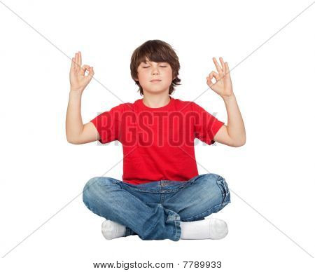 Relaxed Child Practicing Yoga
