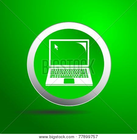 Green laptop icon