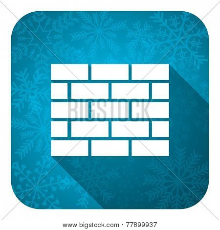 firewall flat icon, christmas button, brick wall sign