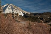 stock photo of dike  - West Spanish Peak and several of the nearly 500 volcanic radial dikes surrounding the Spanish Peaks in southern Colorado USA - JPG