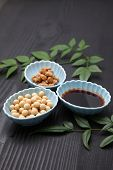 pic of soybeans  - group shot of Japaneese traditional soybean processed foods Natto - JPG