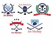 foto of ice hockey goal  - Ice Hockey heraldic emblems and symbols with hockey stick - JPG