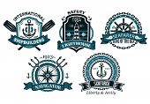 image of trident  - Nautical badges and emblems set in heraldic style with anchors - JPG