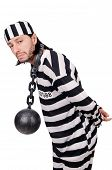 image of inmate  - Prison inmate isolated on the white background - JPG