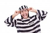 foto of inmate  - Prison inmate isolated on the white background - JPG
