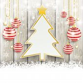 pic of x-files  - Snow with baubles on the wooden background - JPG