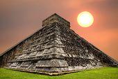 stock photo of yucatan  - Ancient Mayan pyramid - JPG