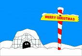 stock photo of igloo  - An Eskimo emerging from his igloo to find a Merry Christmas sign - JPG