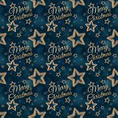 picture of iron star  - White Merry Christmas on the night stars seamless pattern on the blue background - JPG