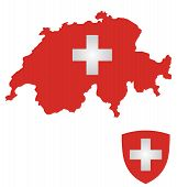 stock photo of flag confederate  - Flag and coat of arms of the Swiss Confederation overlaid on outline map isolated on white background - JPG