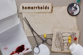 foto of defecate  - Background with subjects associated with hemorrhoids - JPG