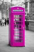 stock photo of phone-booth  - Famous telephone booth in London - JPG