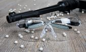 picture of bullet  - airsoft gun with glasses and lot of bullets - JPG