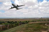 picture of ronald reagan  - Airplane takes off from Ronald Reagan Washington National Airport - JPG