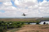 stock photo of ronald reagan  - Airplane takes off from Ronald Reagan Washington National Airport - JPG