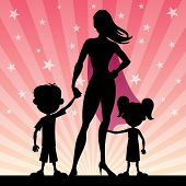 image of heroin  - Super mom with her kids - JPG