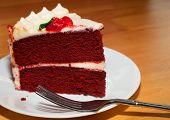 pic of red velvet cake  - Red velvet cake that is ready to be eaten  - JPG
