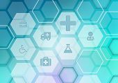 foto of medical injection  - Abstract background with icons on the medical theme - JPG
