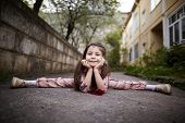 pic of do splits  - cute little pretty girl doing splits outdoors  - JPG