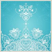 picture of lace  - Blue wedding invitation design template with doves - JPG
