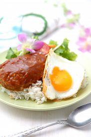 stock photo of loco  - studio shot of typical hawaiian food loco moco - JPG