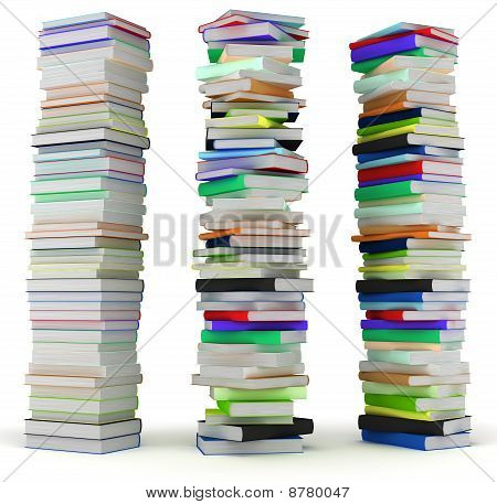 Education And Wisdom. Tall Heaps Of Hardcovered Books
