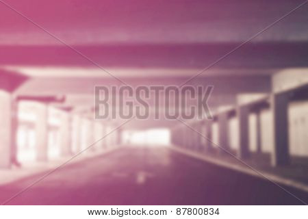 Blurred Abstract Background Of Urban Public Garage