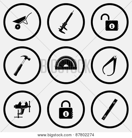 Industrial tools set. Black and white set raster icons.