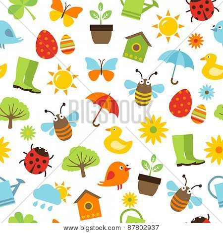 Cute spring background - seamless pattern with icons representing spring activities, nature and freshness.