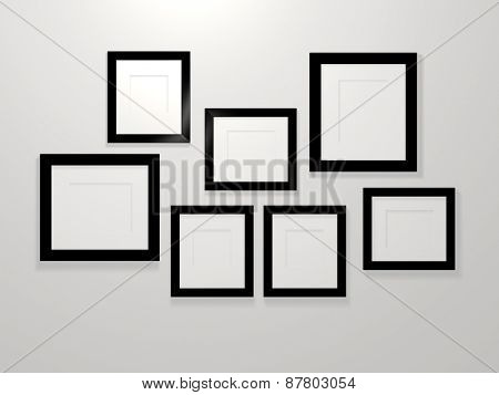 3d picture frames on a white wall