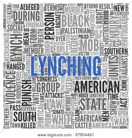 Close up Blue LYNCHING Text at the Center of Word Tag Cloud on White Background.