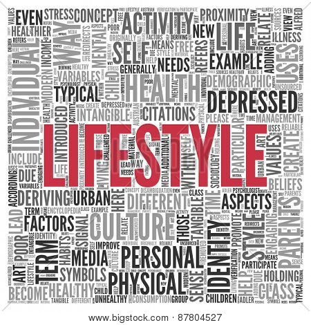 Close up Red LIFESTYLE Text at the Center of Word Tag Cloud on White Background.