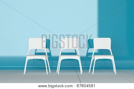 Three modern modular white chairs standing in a row in a blue room with shadow detail and copyspace. 3d Rendering.