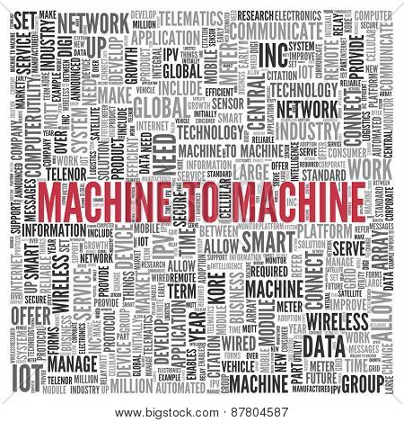 Close up Red MACHINE TO MACHINE Text at the Center of Word Tag Cloud on White Background.