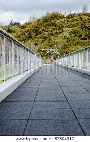 Unique Perspective Of An Empty Foot Bridge With Tree Line Background