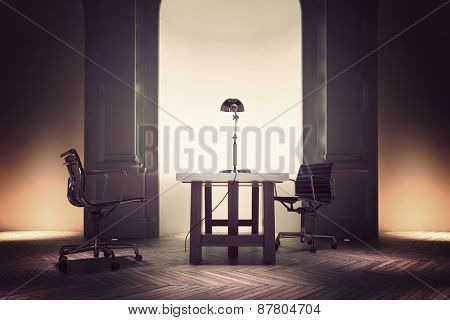 Formal office interior of a corporate CEO with a table and two swivel chairs in front of a recessed illuminated wall arch and pillars. 3d Rendering.