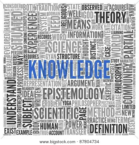 Close up KNOWLEDGE Text at the Center of Word Tag Cloud on White Background.