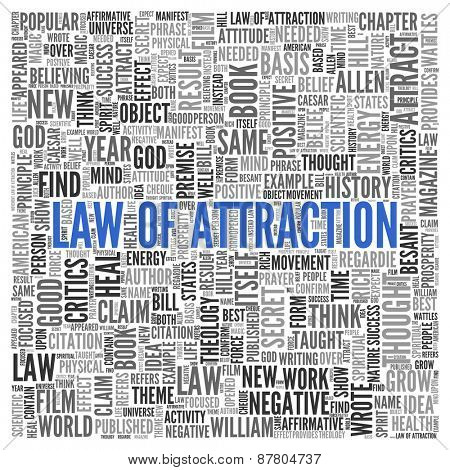 Close up Blue LAW OF ATTRACTION Text at the Center of Word Tag Cloud on White Background.
