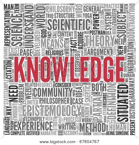 Close up Red KNOWLEDGE Text at the Center of Word Tag Cloud on White Background.