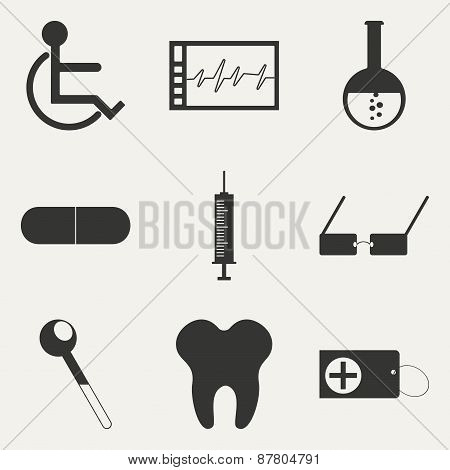 Flat in black and white concept mobile application medicine icons